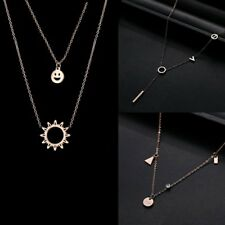 Fashion Stainless Steel Rose Gold Chain Charm Pendant Necklace Lady Jewelry Gift