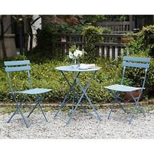 Folding Patio Bistro Set Outdoor Chairs Garden Space Saving Steel Furniture Blue