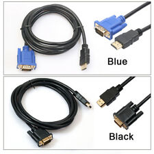 6FT 1.8M 1080P HDMI GOLD MALE TO VGA HD-15 MALE 15Pin Cable Adapter Converter D2