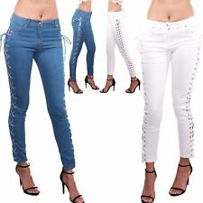 Ladies Womens Eyelet Lace Up Skinny Fit Studded Zip Up Jeans Trouser Cotton Pant
