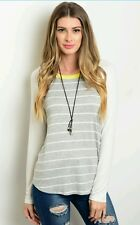 NWOT Womens Raglan Top Size Small Large Gray Ivory Yellow Long Sleeve Striped