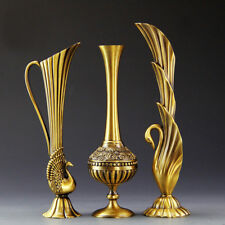 European Retro Vases Metal Alloy Gold Creative Home Decorative Flower Vases