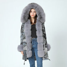Woman Parka Coat Winter Long Jacket Women Real Big Fox Fur Collar Rabbit Liner