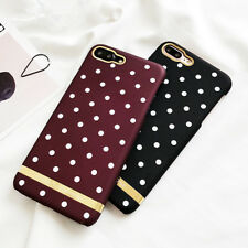 Wave point Gold Plating Strips Wine Red hard Phone Case For iPhone 6 6S 7 Plus