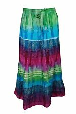 BOHO GYPSY HIPPY TIE DYE LONG SKIRT CRINKLE SUMMER COTTON BLEND ETHNIC SKIRTS