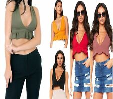 WOMENS V NECK RUFFLE FRILL STRAP CROCHET PLUNGE CROPPED TOP BRALET SHIRT