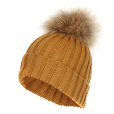 NEW Ladies Detachable Fur POM POM Knitted Thick Hat Cap Beanie Winter Ski Hat