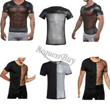 Sexy Mens Leather Mesh Splice Fishnet T-Shirt V-neck Undershirt Clubwear Black