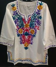 White Women Embroidery V neck line Bohemian Tunic Blouse 3/4 sleeve size M