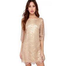 European Fashion Crew Neck Sequined Backless Vintage Dress For Woman