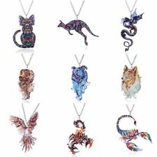 2017 Fashion Women Animals Teardrop Acrylic Pendant Necklace Chain Party Gifts