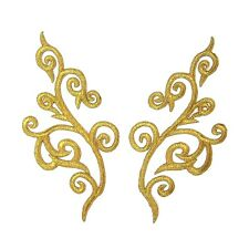 Gold Applique Pair Iron On Embroidery #63 Aust Seller Dance Stage Costume Trim