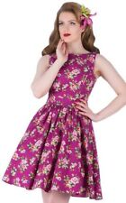 Lady V London Vintage Rockabilly Pin Up Damson Berry Floral Tea Dress 50's Retro