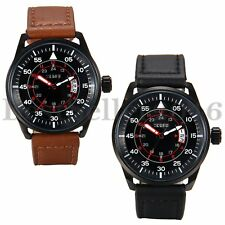 Military Mens Date 12/24 Hour Dial Army Leather Band Quartz Analog Wrist Watch