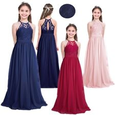 New Lace Princess Flower Girl Dress Junior Wedding Bridesmaid dresses 4-14 years