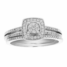 1/3 CT Diamond Cluster Channel Wedding Engagement Ring Set 14K Gold