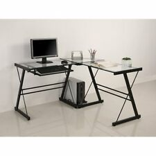 Corner Glass Computer Desk 3-Piece Contemporary Office Furniture Table L-Shape