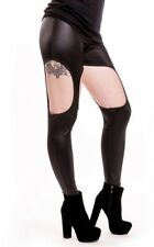 Cupcake Cult Gothic Goth Punk Cutout Leggings Wet Look Stretch Pants