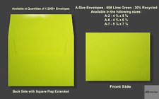 A2▪A6▪A7 60# Premium Lime Green Announcement Envelopes - Various Quantities