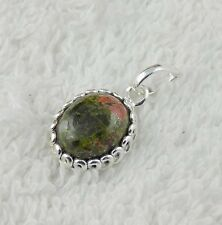 Natural Unakite Jasper Oval Shape Cabochon 9x11mm Gemstone 925 Sterling Silver