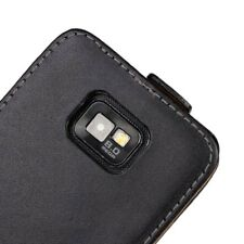 For Samsung Galaxy S2 i9100 Quality Black Genuine Leather Flip Case Cover Skin