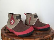 CROCS Suede Leather Faux Fur Warm Winter Boots Boys or Girls Size 12