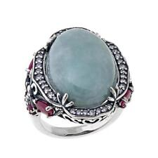 Jade of Yesteryear Oval Green Jade, Ruby, Sapphire and CZ Sterling Silver Ring