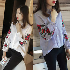 Fashion Women Flower Embroidery Shirt Office Lady OL T-shirt Tops Blouse Autumn