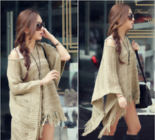 Women Autumn Bat-Wing sleeve Loose Baggy Jumpers Knitted Fashion Tassels Sweater