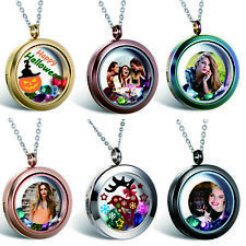 Personalized Engraving Living Memory Glass Round Locket Ladies Pendant Necklace