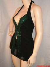 NEW BLACK EMERALD GREEN SEQUIN BACKLESS HALTER CLUBBING PARTY TOP 8