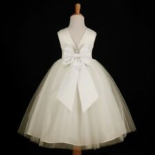 Ivory Wedding Pageant Tulle Gown Flower Girl Dress 12M 18M 2 3/4 5/6 7/8 9/10 12