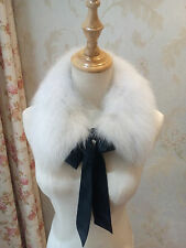 Nature White Real Fox Fur Collar Vintage Fur Scarf Detachable Collar Removable