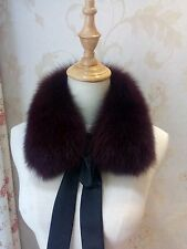 Dark Red Brown Fur Winter Scarf Real Fox Fur Neck Warmer Scarf Kids Stole Women