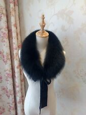 Black Real Fox Fur Scarf Collar Neck Warmer Removable Collar Women Men Stole