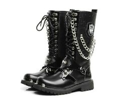Punk Rock MENS BLACK GOTH PUNK ROCK BAND BUCKLE BOOTS US6.5-10