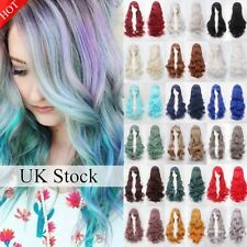 Uk Sale Women Fashion Lady Anime Long Curly Wavy Hair Party Cosplay Full Wig A52