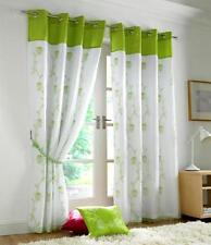 Pair of Tahiti Embroidered Voile Fully Lined Eyelet Curtains Lime Green & White