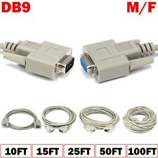 10 15 25 50 100FT DB9 Male to DB 9 Female Cable M/F Serial RS 232 Extension