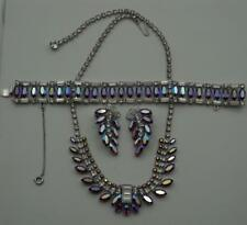 VTG B David Crystal Rhinestone Necklace Bracelet & Earrings Red Aurora Borealis