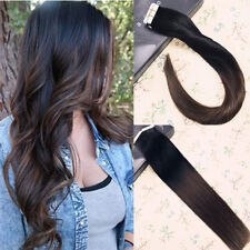 100% Human Hair Tape in Extensions Ombre Black to Brown Straight Remy Hair 50g