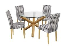 New Oporto Solid Oak & Glass Round Medium 107CM Dining Table + Lorenzo Chairs