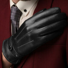 Leather Gloves Full Finger Mens Motorcycle Driving Winter Warm Touch Screen EN