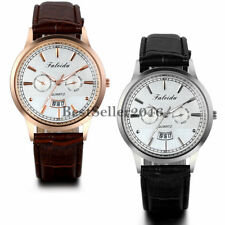 Fashion Date Dial Mens Leather Band Calendar Sports Quartz Analog Wrist Watch