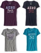 Womens Aeropostale Aero Striped Patch Graphic Tee NWT 47% Off MSRP $24.50