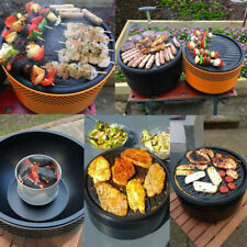 Portable BBQ Charcoal Grill  Barbecue Smokeless Round Garden Indoor Outdoor