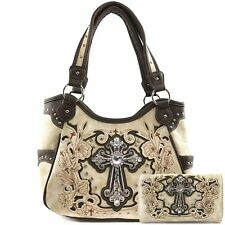 Justin West Rhinestone Cross Western Embroidery Conceal Carry Handbag Purse Tote