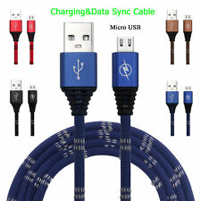 1M/3Ft Braided Quick Charger Lead Micro USB Data Sync Cable For Samsung Phone