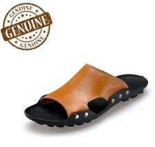 Men's Genuine Leather Luxury Shoes Slippers Sandals Flip Flop Real Beach