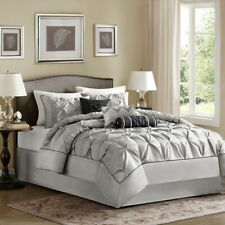 Luxury 7pc Grey & Black Pleated Comforter Set AND Decorative Pillows